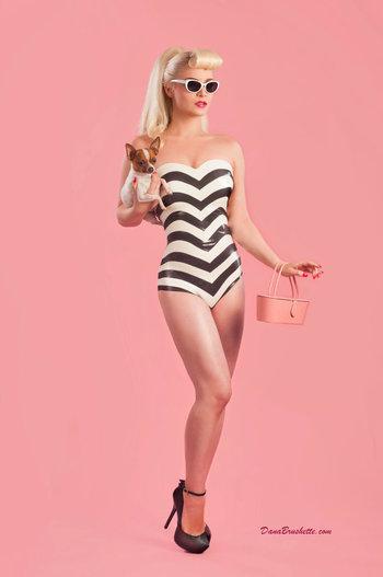 Latex 50's style Barbie Cosplay Bodysuit