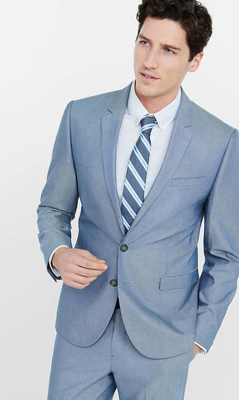 Blue Oxford Cloth Producer Suit Jacket from EXPRESS