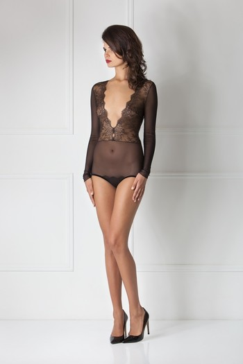 Amoralle Sheer Lace Decollete Bodysuit