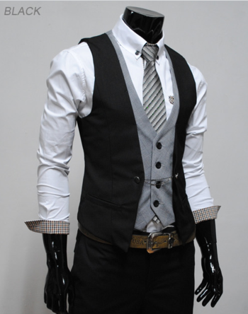 (VE34) Mens premium layered style slim vest waist coat