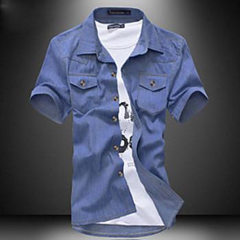 corta camisa vaquera de manga ocasional de los hombres