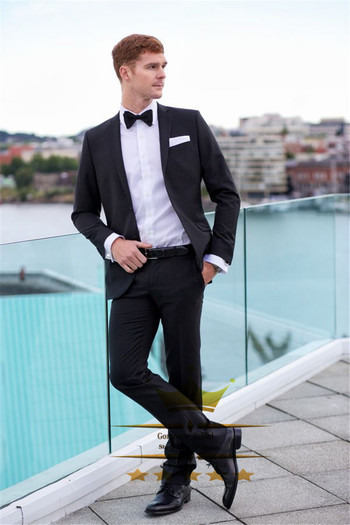 Aliexpress.com : Buy Black Wedding Suit For Men Custom Made Tuxedos Mens Suits With Pants Notch Lapel One Button Groom (Jacket+Pants+Tie)WY4888 from Reliable Suits suppliers on Gorgeous_Bridal  | Alibaba Group