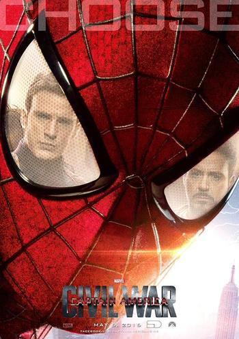 "Spider-Man Must ""Choose"" in CAPTAIN AMERICA: CIVIL WAR Fan Poster"
