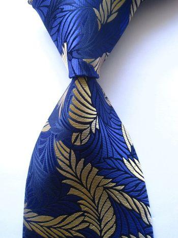 New Classic Floral Blue Gold JACQUARD WOVEN 100% Silk Men's Tie Necktie