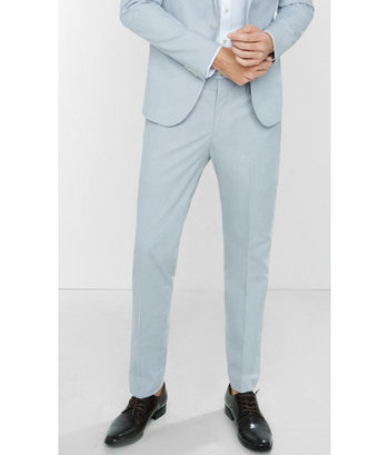 EXPRESS Men's Suits Skinny Innovator Textured Stripe Suit Pant White W34 L34