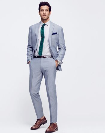 JUN '15 Style Guide: J.Crew men's Crosby suit in Italian cotton oxford cloth, English silk dot tie an