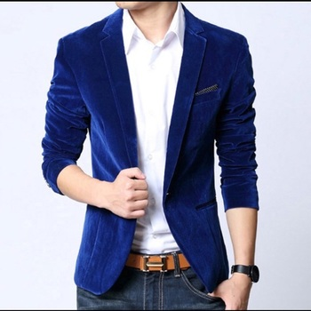 Mens Velvet Blazer Slim Fit Royal Blue