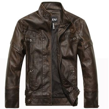 New Arrive Motorcycle Men's Leather Jacket
