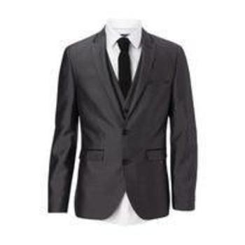 Mens Burton Grey Textured Tipped Slim Fit Suit Jacket, Grey , Bhs