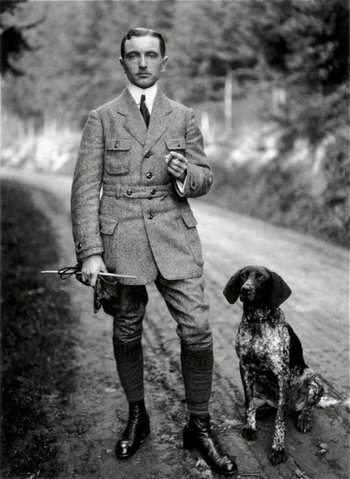 Downton Abbey type gentleman, early 1900s with pointer dog.