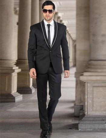 Black terry rayon men 1 button party wear coat suit   G3-MCO0167