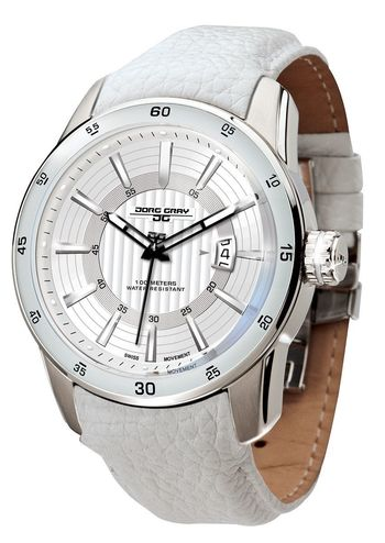 Jorg Gray JG3700-13 Men's Watch White Striped Dial With White Integrated Leather Band Swiss Movement