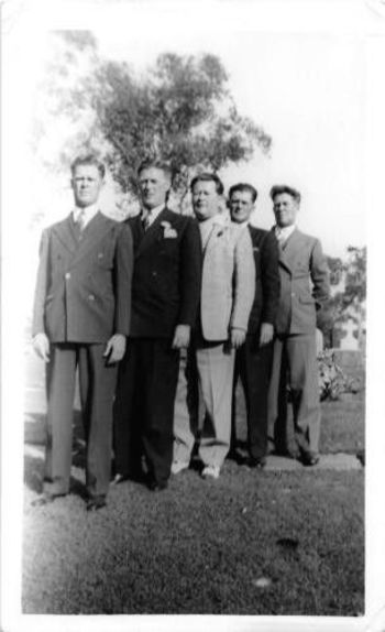 Photograph Snapshot Vintage Black and White: 5 Men suits Line Up 1950's