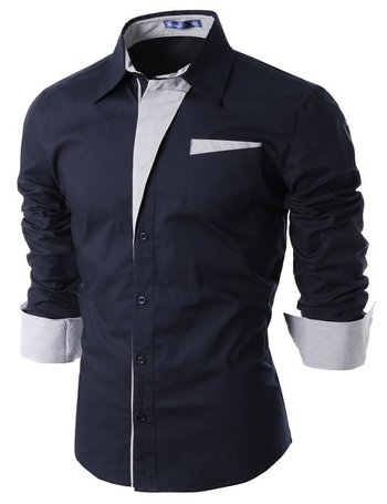 Doublju Mens Casual Pin striped Nice Dress Shirts for tailored suit BLACK (US-2XL) at Amazon Men's Clothing store: