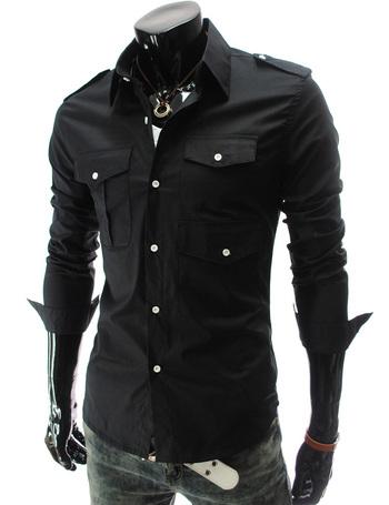 Mens Casual Fashion Stylish Slim Fit Long Sleeve Solid Color Dress Shirt | eBay