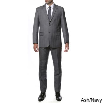 Zonettie-Ferrecci Mens Slim Fit Plaid 2-button Suit | Overstock.com Shopping - The Best Deals on Suits