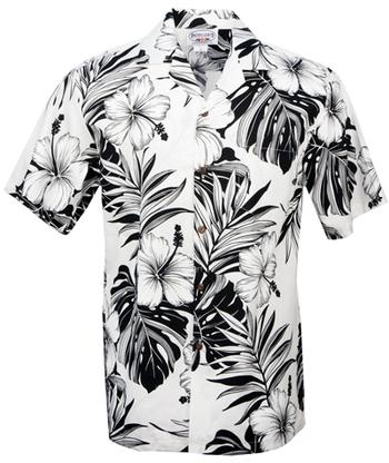 Hibiscus Passion Mens Hawaiian Aloha Shirt in White, Wedding Prints - Tropical Hawaiian Dresses, 410-3589_White