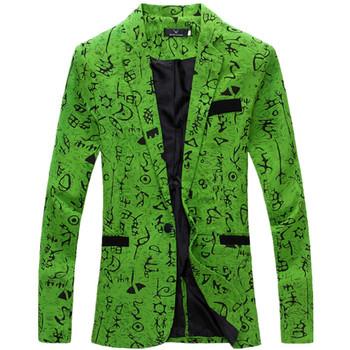 men blazer slim fit 2016 suit men Cotton and linen flower cloth color matching leisure jacket men suit 9 color M-XXL