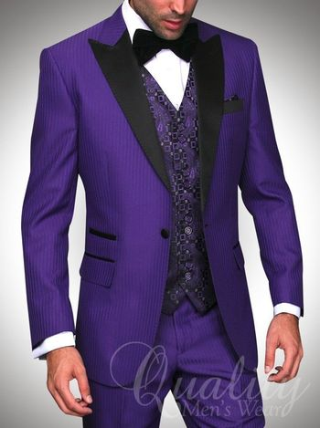 Purple Tuxedo Suit Modern Fit 1 Button Black Trim Tonal Chalkstripe $899