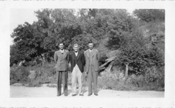 Photograph Snapshot Vintage Black and White: 3 Elderly Men Suits Smile 1940's