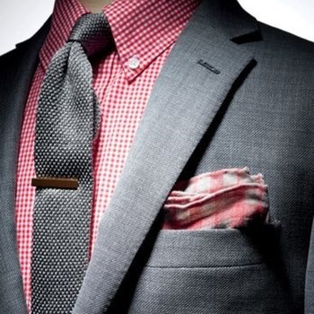 """Bachelor's Box on Instagram: """"Pink can be difficult colour to pull off but with the correct matching it can look great. Loving the wooden tie bar too!"""""""