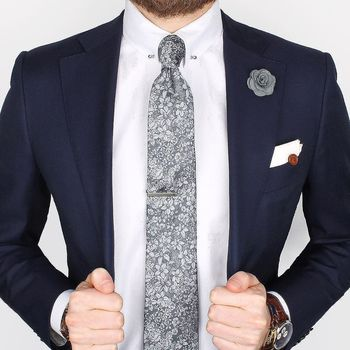 Our new Grey floral linen & silk tie, Herringbone collar-bar shirt and Grey micro lapel pin www.Grand