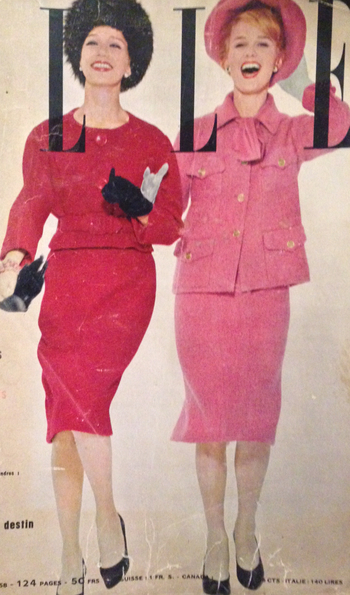Pierre Cardin & Coco Chanel- 1958 Red Shetland wool jacket skirt suit by Cardin. Pink Shetland wool j