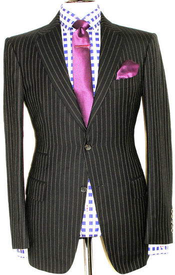 MENS GUCCI TOM FORD CHIC TAILOR-MADE SLIM FIT CHALKSTRIPE SUIT 40R W34 X L32
