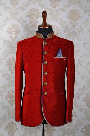 Red velvet slim fit aesthetic suit with mandarin collar -ST381
