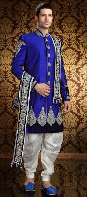 13117: Blue color family Sherwani.