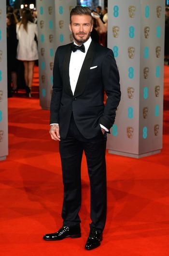 David Beckham Wears Tom Ford Tuxedo at 2015 BAFTAs