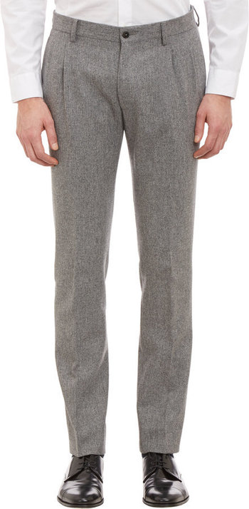 $179, Grey Wool Dress Pants: Altea Pleated Slim Trousers