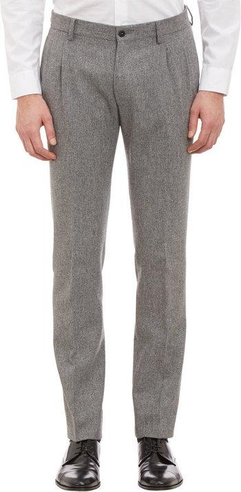 $179, Grey Wool Dress Pants: Altea Pleated Slim Trousers