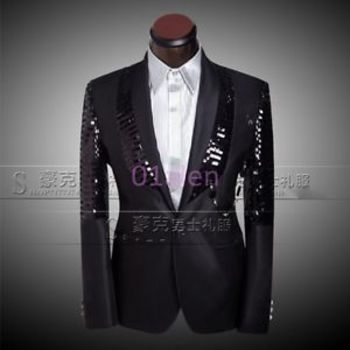 Fashion Mens Bling Sequins Suit Blazer Jackets&pants Gangnam Casual Coat Wedding