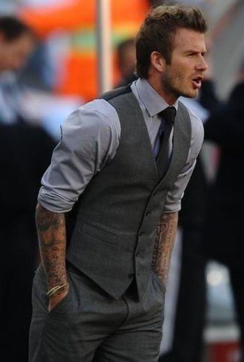 David Beckham wearing Grey Dress Shirt, Charcoal