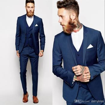 Discount Suit Custom Made Groom Tuxedos Blue