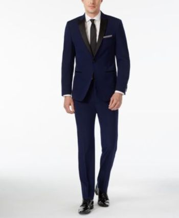 Calvin Klein Blue with Black Peak Lapel Extra Slim-Fit Tuxedo - Tuxedos & Formalwear - Men - Macy's