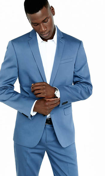 Photographer Cotton Sateen Blue Suit Jacket from EXPRESS