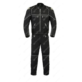 Men's Black Two Piece Reflective Motorcycle Cordura Suit