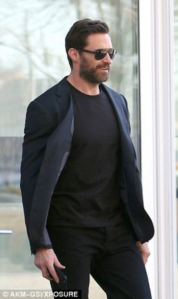 Hugh Jackman looks dapper in head to toe black in New York