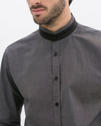 ZARA - MAN - T-SHIRT WITH MAO COLLAR AND CONTRASTING DETAILS