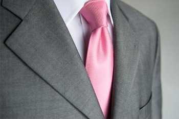 Charcoal Gray Suit and Pink Tie #weddingsuit