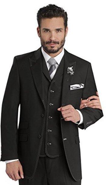 EJ Samuel Mens Black White Stitch 3 Piece Suit M2688 at Amazon Men's Clothing store: