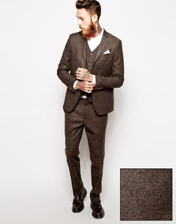 ASOS Slim Fit Suit in Herringbone Brown  at asos.com