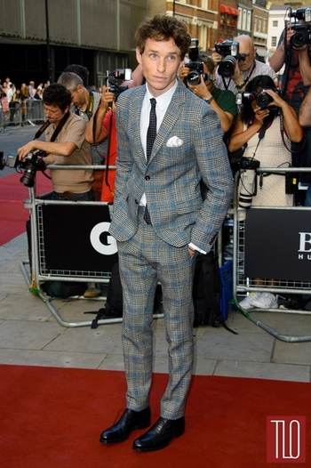Eddie Redmayne attends the 2013 GQ Men of the Year Awards at The Royal Opera House in London in Gucci