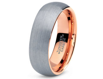 Mens Tungsten Carbide Wedding Band Ring 7mm 18k by GiftFlavors