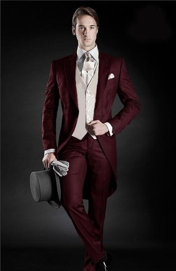 vest jacket women Picture - More Detailed Picture about 2016 Morning Style Groom Tuxedos Peak Lapel Men's Suit Burgundy Groomsman/Best Man Wedding/Dinner Suits (Jacket+Pants+Tie+Vest) Picture in Suits from yinyanyu2 | Aliexpress.com | Alibaba Group