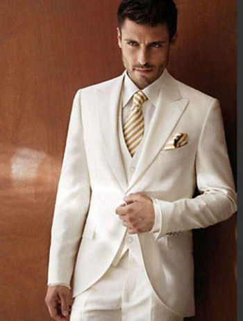 Details about  2015 Mens wedding Sits Groom Tuxedos Business Suits Party Suits F