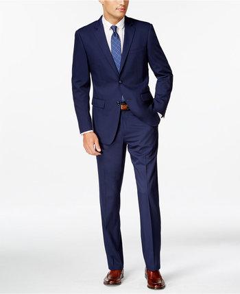 Perry Ellis Blue Twill Slim-Fit Suit - Suits & Suit Separates - Men - Macy's