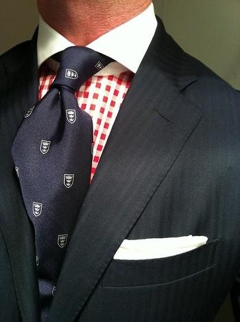 Navy herringbone suit by Ralph Lauren. #Aim2Win